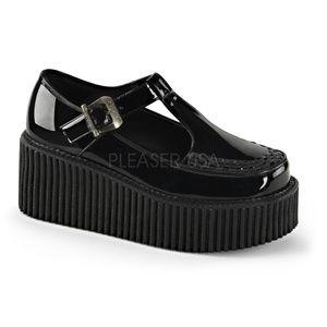 """Shoes - 3"""" Platform Creeper Shoes Gothic Punk Black Patent"""